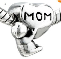 Silver Plated Metals  65STYLE ! MOM HEART & BABY SILVER CHARM BEAD FOR BRACELET JEWELRY.50PCS LOT