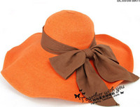 Wholesale Bowknot folding beach cap straw prevent the ultraviolet female summer sunshade hat