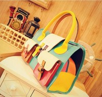 Wholesale 2012 New Korea Fashion Style Women s PU Leather Handbag Lady Tote Shoulder Bags HB008