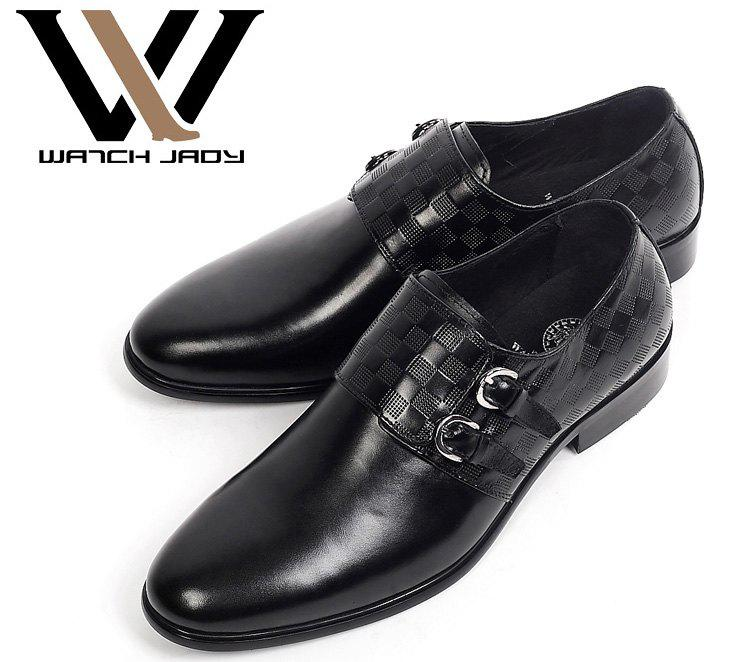 Mens Genuine Leather Dress Shoes Buckle Loafers Slip On Black ...