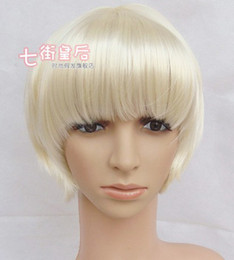 Wholesale 10PCS EMS Fashion Play Boy s Short Wigs Synthetic White Wig Vocaloid Cosplay Wig