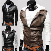 Wholesale New Fashion Men s Slim turndown washing PU Leather Leather motorcycle Jackets Coat Outerwear