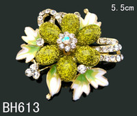 Wholesale fashion flower brooch jewelry rhinestone women costume jewelry Zinc alloy brooch mixed color BH613
