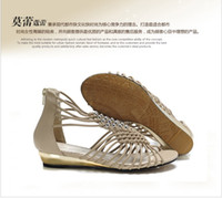 Free shipping brand new fashion real leather sandals metal b...