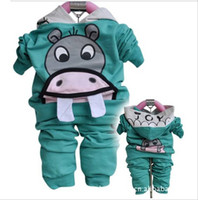 Wholesale Autumn Spring Girl boys Baby s Clothing Children Clothes Cartoon Hoodies Pants Clothes set wear