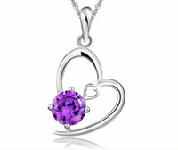 Wholesale Fashion Silver Necklace Crystal Gemstone Heart Pendant Necklaces Wedding Jewelry For Women jdd25