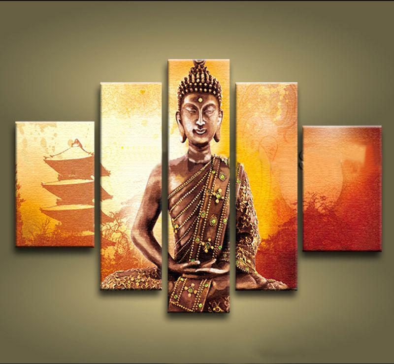 framed 5 panels 100 handmade asian art feng shui buddha painting on canvas wall art