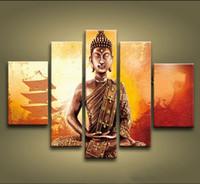 Ручная панель будда RU-Рамка 5 панелей 100% Ручная работа с азиатским искусством Картина Будды Фэн Шуй на холсте Настенная живопись Современное китайское домашнее украшение