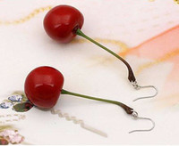 Wholesale Fashion Lovely Sweet Red Cherry Earrings Fashion