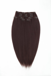 Wholesale clip in synthetic hair clip on hair hair extension hair pc g set quot quot Dark Auburn Brown