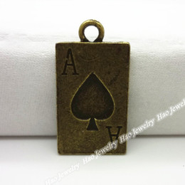 Charm of antique bronze playing card pendant 80pcs zinc alloy jewelry accessories fashion