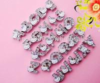 Wholesale 130pcs mm A Z Rhinestones slide letters DIY Accessories Fit Pet Collar Wristband NO