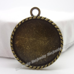 Charm of antique bronze round photo frame pendant 50pcs zinc alloy jewelry accessories fashion
