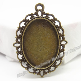 Charm of antique bronze oval photo frame pendant 60pcs zinc alloy jewelry accessories fashion