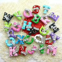 Wholesale 130pcs mm A Z Two rhinestone slide letters DIY Accessories Fit Pet Collar Wristband NO