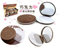Wholesale 12PCS Mini Cute Cocoa Chocolate Mirror amp comb Portable Compact Mirror Comb Free Ship
