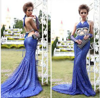 Actual Images Halter Organza top sale blue full-length skirt (with gloves ) high-grade Beaded Halter red wedding dress.CLF-0014