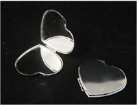 Wholesale BLANK SILVER COMPACT MIRRORS HEART SHAPED MAKEUP CASES DROP SHIPPING M0838