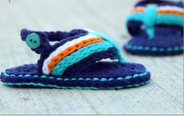 Wholesale Crochet baby sandals first walker shoes infant slippers M double sole pairs cotton