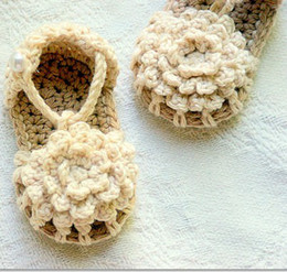Baby crochet sandals first walk shoes infant flower slippers 0-12M double sole 14pairs lot cotton yarn from baby walking slippers manufacturers