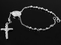 Wholesale 4mm Fashion Jewelry Super Silver L Stainless Steel Tone ROSARY BEAD JESUS CROSS cm Cool Bracelet Bangle g