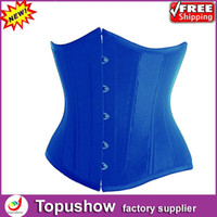 Women Corset & Bustier New Year Free Shipping! Sexy Royal Blue Taffeta Bondage Corset Lace Up Boned Bustier Lingerie S-XXL 9275