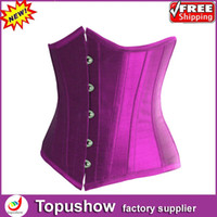 Women Corset & Bustier Christmas Free Shipping! Sexy Royal 4 Colors Taffeta Bondage Corset Lace Up Boned Bustier Lingerie S-XXL 9277