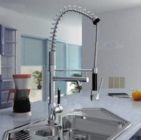 Wholesale hot sell pull out kitchen Brass Thicken Chrome Spring kitchen mixer tap