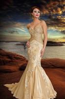 2012 Gold Dresses Spaghetti Beading Sweetheart Mermaid Appli...