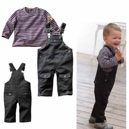 Wholesale Autumn baby boy s clothing set striped t shirt overalls baby cool suits boy overalls sets