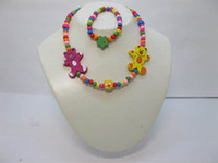Bracelet & Necklace Children's Wood Cute Wood Bead Necklace & Bracelet Set Handmade Children's Jewelry Candy Color Mixed 24Sets