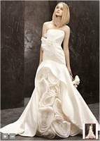 Wholesale New Strapless D Hand Made Flowers Details Court Train Wedding Gowns Bridal Dresses