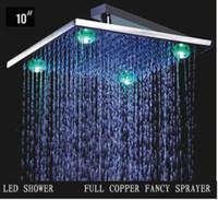 Exposed Contemporary LED BEST!!overhead Romantic Temperature Sensor 3 Color LED Light Shower Head bateroom