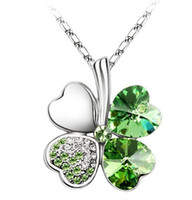 Wholesale Crystal Clover Leaf Necklaces Pendants Free Shopping Mix All Of Style