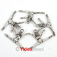 Wholesale Free PP Silver Tone Gymnastic Charms Pendants Beads X16mm Sport Game