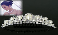 Wholesale Wedding bride tuck comb inlay pearl rhinestone headband hair band christmas gift