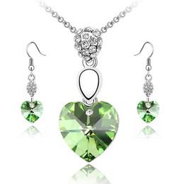 Multi-Cut Crystal Heart Necklaces Sets Pendant + Earrings