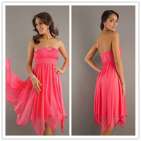Wholesale 2012 New Coral Handkerchief Strapless Beads Chiffon Prom Dresses Party Dress Homecoming Dresses Gown