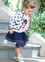 Wholesale Fashion Kids Clothing European Style Clothes Polka Dot Blazer InsideT shirt Skirt Leggings