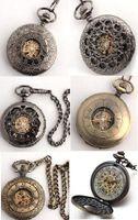 Wholesale 6pcs Black Gold Copper Skeleton Fob Chain Watches Mechanical Pocket Watch Men Wedding Pendant Chains