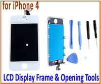 Wholesale Replacement White LCD Screen Touch Digitizer Panel Outer Glass Frame Preassembled Opening Tools