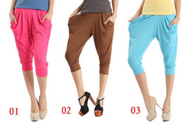 Wholesale Harem Pants Ladies Colorful Drape Hip Hop Stretch Trousers Cheap Womens Pants On Sale c145 Mix Order