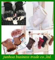 achat en gros de doigts demi gants d'hiver-Belles Gants de fourrure de lapin d'hiver Mitaines Mmulti-couleur demi-doigts Lady Gant Livraison gratuite