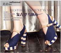Rome style canvas shoe mixed color high- heeled shoes navy st...