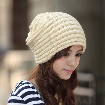 Easy Knitting Pattern For Scarf : Fashion Womens Caps Beret Knit Hat Patterns Beanie Hat Knitted Winter Caps Me...
