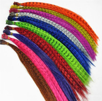 Wholesale 18 mixed colors synthetic rooster grizzly feather hair extension