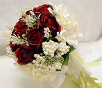 Wholesale High Quality Red Fabric Rose Handflower Wedding Bridal Flower Bouquet