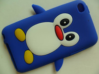 Wholesale 3D Cute Penguin Style Soft Silicon Back Case Skin Cover for iPod Touch G
