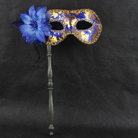 Bauta Mask masquerade masks on stick - New Party Masks Gold Cloth Coated Flower Side Venetian Masquerade Party Mask On Stick Carnival Halloween Costume Mix Color