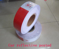 Wholesale 50M Roll Car reflective posted White Red m cm Hazard Warning Tape From China